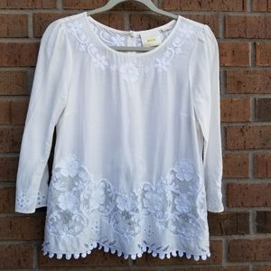 Anthropologie Maeve Ivory White Lace blouse